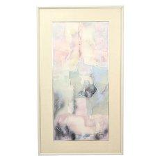 "1985 Laszlo Dus ""Fescek VIII"" Abstract Mixed Media Painting Hungarian"