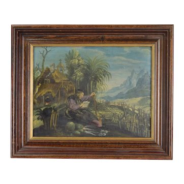 18th Century Italian Oil Painting on Copper Plate St. Fiacre of Ireland