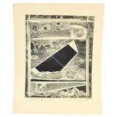 """1965 Intaglio Etching Letterio Calapai """"Ozymandias"""" Abstract Erotic Scene"""