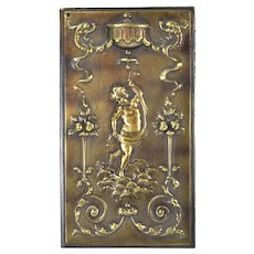 Vintage Bronzed Iron Plaque Dancing Cherub or Putti W Dragons Fruit Trees