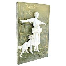 Antique Porcelain Bas-Relief Plaque Peasant Farmer Woman w Retriever Dog