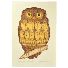 "Vintage ""Corporate Image"" Surrealist Owls Lithograph Curt Frankenstein"