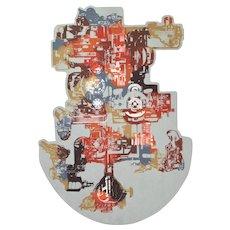 "Vintage Brutalist Industrial Lithograph ""Mach Tech 1"" Machinery Gears Lencioni"