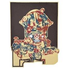 "Vintage Brutalist Industrial Lithograph ""Techode"" Machinery Gears Lencioni"