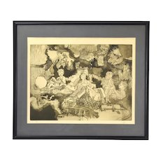 Vintage 1970's Abstract Etching Family of 3 Sons and 1 Daughter Signed Stein