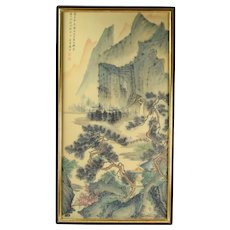 Early 20th Century Japanese Landscape Scroll Painting in Gilt Wood Frame