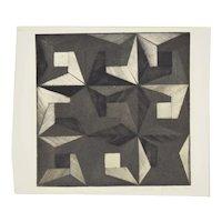 1972 Michiko Itatani Black & White Geometric Etching #1 Chicago Artist