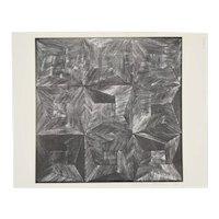 1972 Michiko Itatani Black & White Geometric Etching #3 Chicago Artist