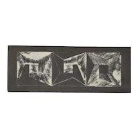 1972 Michiko Itatani Black & White Geometric Etching #4 Chicago Artist