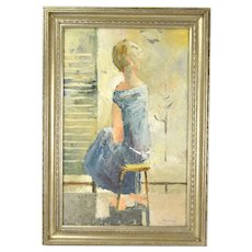Mid-Century Impressionist Impasto Oil Painting Girl Looking at Natural World