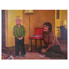 """1960's Oil Painting """"Listening to Records"""" Mother & Son Phonograph Dick Fort Chicago"""