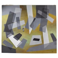 "1960's Mid-Century Modern Abstract Painting ""Abstraction"" Dick Fort Chicago"