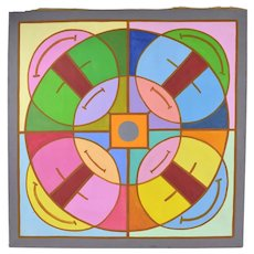 "1960's Mid-Century Modern Abstract Painting ""Abstract Mandala I"" Dick Fort Chicago"