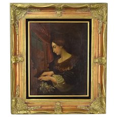 19th Century Oil Painting Saint Cecilia at the Organ after Carlo Dolci