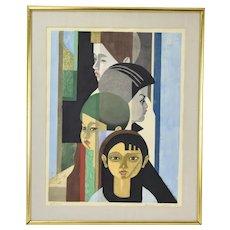 """1956  Mid-Century Modern Japanese Woodblock Print """"4 Children"""" Sekino Junichiro"""