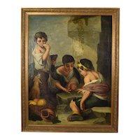 19th C. Beggar Boys Playing Dice w Dog Painting After Bartolomé Esteban Murrillo