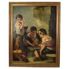 19th C. Beggar Boys Playing Dice w Dog Painting After Bartolomé Esteban Murrillo