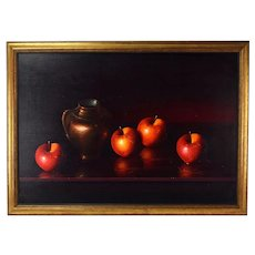 Luciano Guarnieri Italian Realist Still Life Oil Paint w Apples and Urn