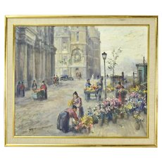 Vintage Impressionist Oil Painting Cityscape with Flower Vendors signed