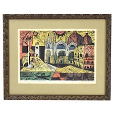 "Irving Amen ""Piazza San Marco"" Vintage Woodblock Print Limited Edition Signed"