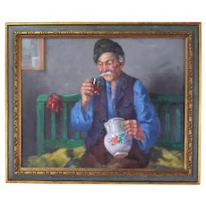 Vintage Seated Old Man Drinking Wine Oil Painting Istvan Horvath Hungarian