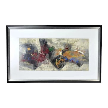 Modernist Patrice Beckerich Abstract Forms Oil Painting #2 Canadian Artist