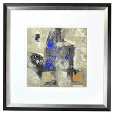 Modernist Patrice Beckerich Abstract Forms Blue Oil Painting #4 Canadian Artist