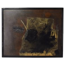 Vintage Dark Mid-Century Modern Abstract Mixed Media Painting Black Feather