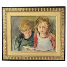 Mid-Century Zivko Zic Croatian American Artist Portrait of Boy & Girl Reading