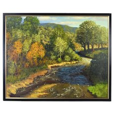 "Jerry Greenberg ""New Mexico Creek"" Southwest Landscape Painting  Texas Artist"