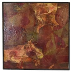 Large Vintage Mid-Century Modern Mixed Media Abstract Painting Layered Paper