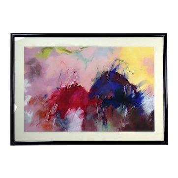 Huge Cynthia Knapp 1988 Abstract Mixed Media Painting Atlanta Artist