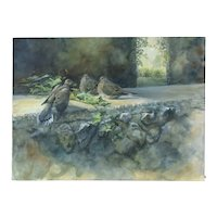 Julia Rogers Wildlife Oil Painting Mourning Doves on Rock Wall