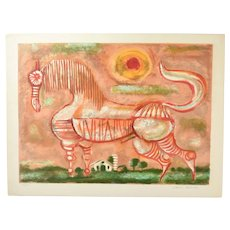 Aaron Bohrod Mid-Century Abstract Horse Signed L/E Lithograph