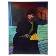 "1980's Portait Oil Painting ""Lady with Daffodils"" Dick Fort Chicago"