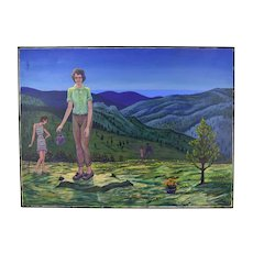 """1970's Oil Painting """"Hikers with Orange Flowers"""" Dick Fort South Dakota"""