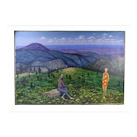 "1970's Oil Painting ""St. John on Patmos"" Black Hills South Dakota Dick Fort"
