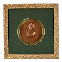 19th Century Susse Freres Bronze Bas-Relief Portrait of Young Lady after Greuze