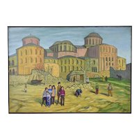 """1960's Oil Painting """"Scene From Istanbul"""" Turkey Dick Fort"""