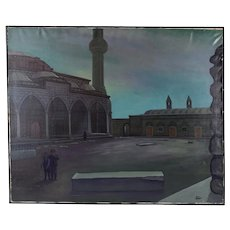 """1960's Oil Painting """"Sergius and Bacchus"""" Byzantine Church Istanbul Dick Fort"""