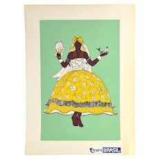 Vintage 1960s Tours Brasil Brazil Dancer Screenprint Travel Poster Green signed