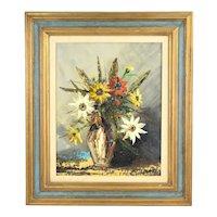 Vintage Mid-Century Modern Still Life Vase of Flowers Oil Painting