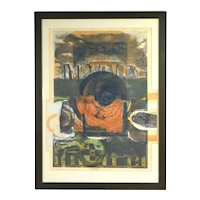 Vintage Mid-Century Modern Stone Henge Abstract Lithograph