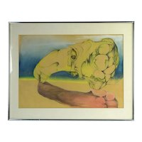 Vintage Surrealist Abstract Colored Pencil Drawing Arched Organic Shapes