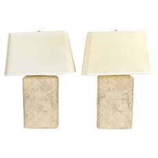 Pair Vintage Modern Geometric Faux Stone Pottery Lamps by Fine Art Lamps