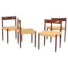 Set of Four Vintage Danish Modern Teak Dining Chairs with Danish Cord Seats