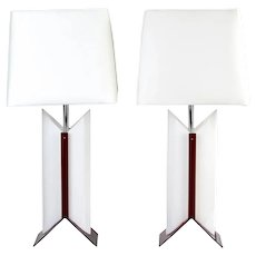 Pair Vintage Modernist Atomic Red and White Table Lamps