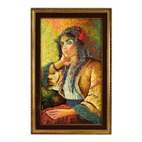 Vintage 1960's Textural Bas-Relief Oil Painting Gypsy Woman signed
