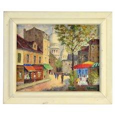 1940's Parisian Street Scene Painting Au Cadet de Gascogne signed Moulon