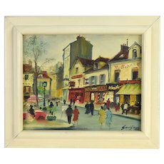 1937 Parisian Street Scene Painting Cafes Artist Pedestrians Period Clothing signed